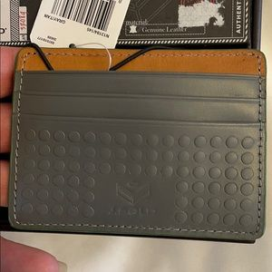 J. Fold grey leather flat card case carrie…